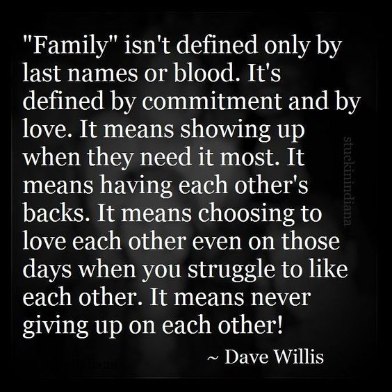 """Family isn't defined only by last names or by blood; it's defined by commitment and by love. It means showing up when they need it most. It means having each other's backs. It means choosing to love each other even on those days when you struggle to like each other."" -Dave Willis"