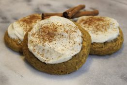 pumpkin cookies, pumpkin cookies with frosting, thanksgiving recipes